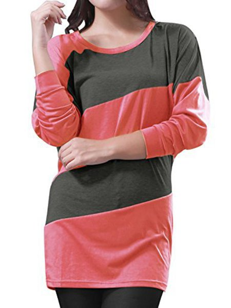 Stripes Crew Neck Long Sleeve Casual Tunic Top