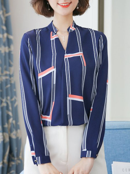 Blue Elegant Stripes Blouse