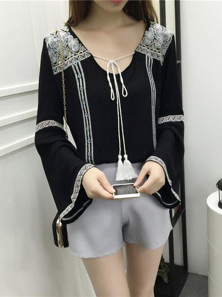 Bell Sleeve Casual Linen T-Shirt