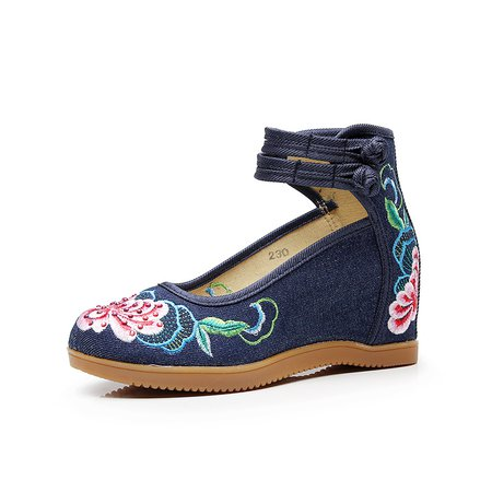 Canvas Flower Embroidered Wedge Heel Mary Jane Shoes