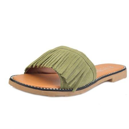Women Tassel Suede Open Toe Slippers