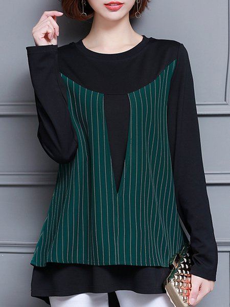 Crew Neck Cotton-blend Long Sleeve Paneled Casual Tunic Top