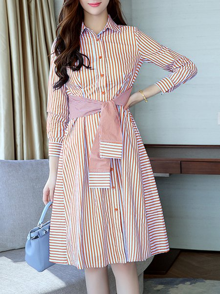 A-line Cotton-blend Casual Dress
