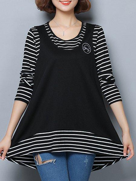 A-line Paneled Casual Long Sleeve Stripes Tunic Top