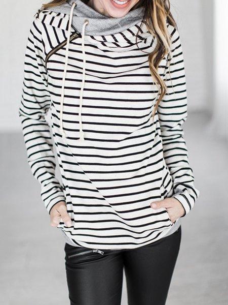 Cotton-blend Hoodie Long Sleeve Stripes Hoodie