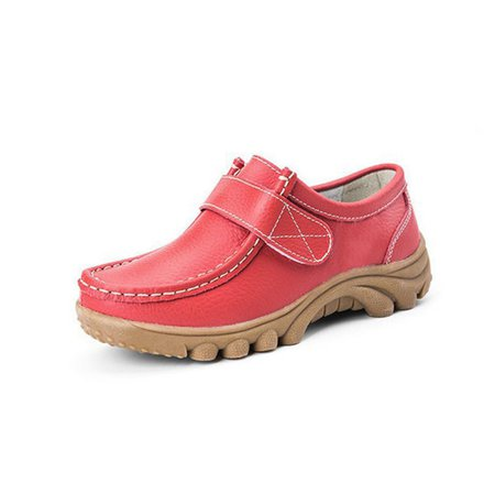 Big Size Hook Loop Casual Leather Flat Sport Soft Comfortable Shoes For Women
