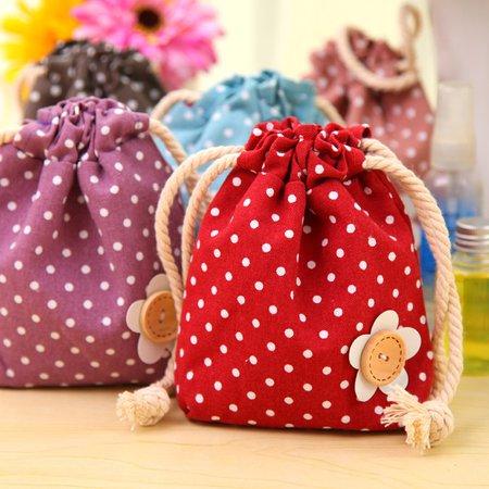 Casual Applique Dot Pattern Cotton Linen Storage Multifunctional Home Drawstring Bag