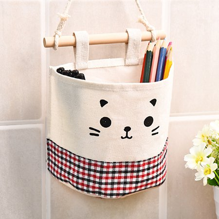 Casual Lovely Cute Pattern Cotton Linen Storage Multifunctional Home Hang Bag
