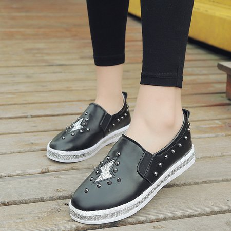 Casual PU Rivet Sequin Slip On Cozy Loafers