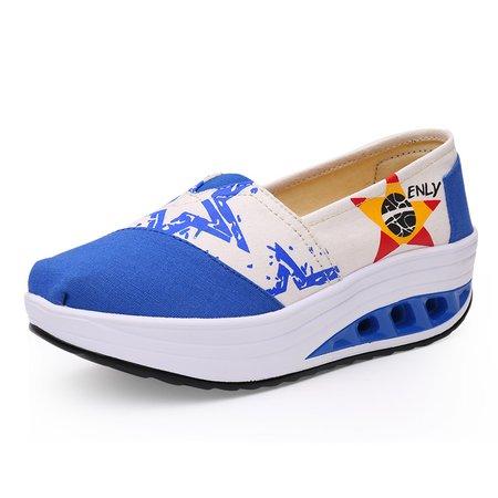Casual Canvas Platform Color Block Loafers