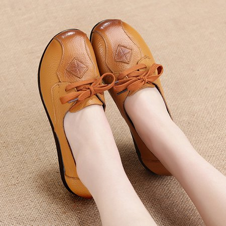 Large Size Genuine Leather Casual Lace-up Loafers