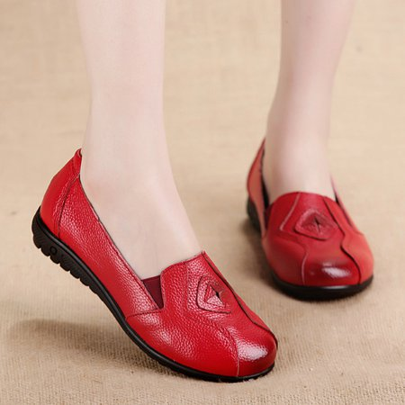 Large Size Genuine Leather Casual Non Slip Flats
