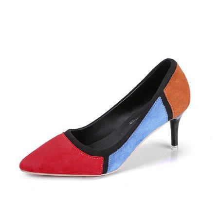 Color Block Suede Dress High Heel Pumps