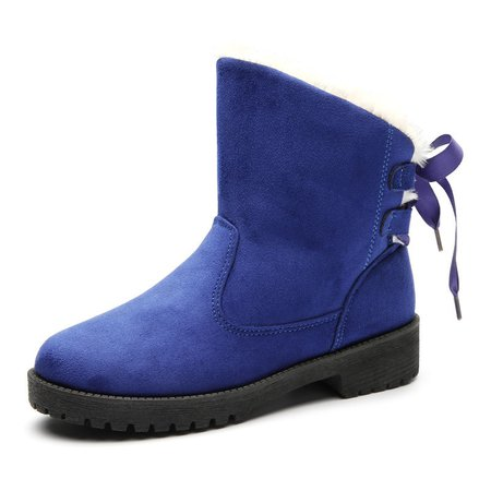 Large Size Suede Lace-up Non Slip Snow Boots