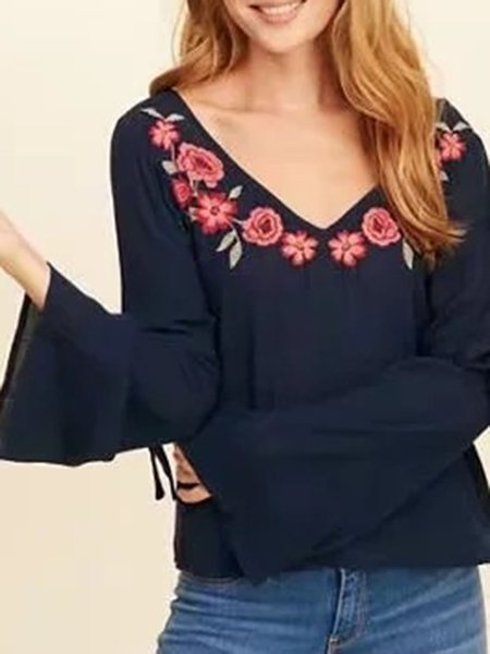 Casual Cotton-blend Floral-embroidered Floral Bell Sleeve Blouse