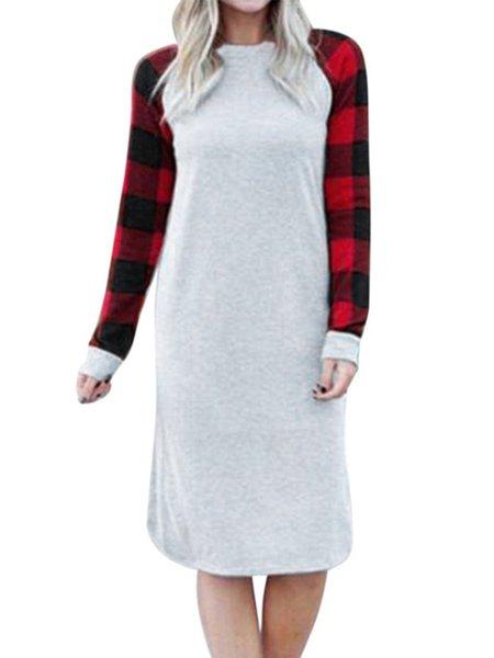 Crew Neck Cotton-blend Long Sleeve Dress