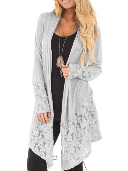 Plain Long Sleeve Paneled Cotton-blend Cardigan