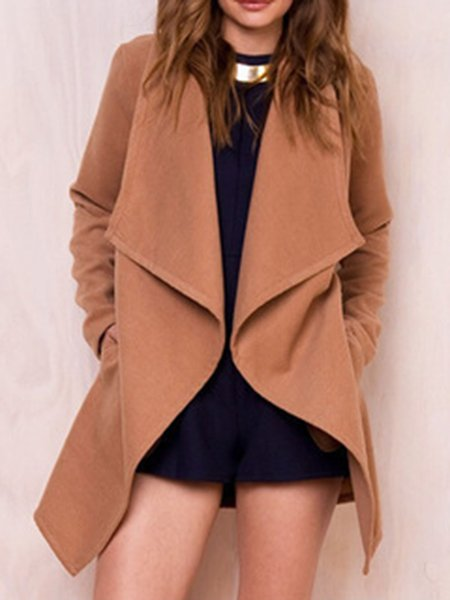 Shawl Collar Casual Solid Cotton-blend Coat
