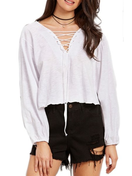 Long Sleeve Lace Up Cotton-blend V Neck Casual Blouse