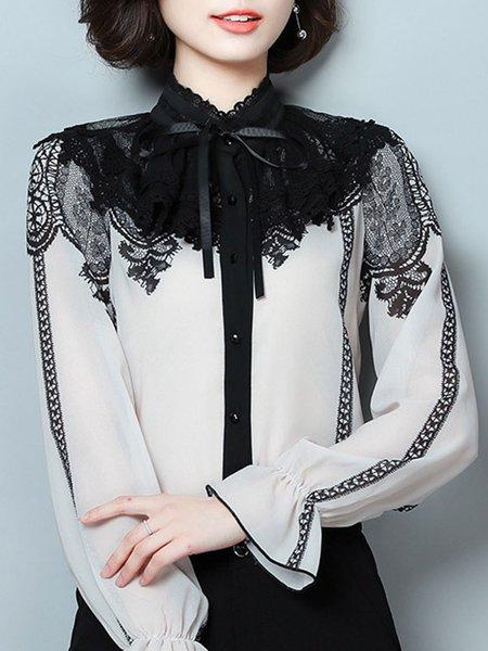 White Long Sleeve Lace Shirt