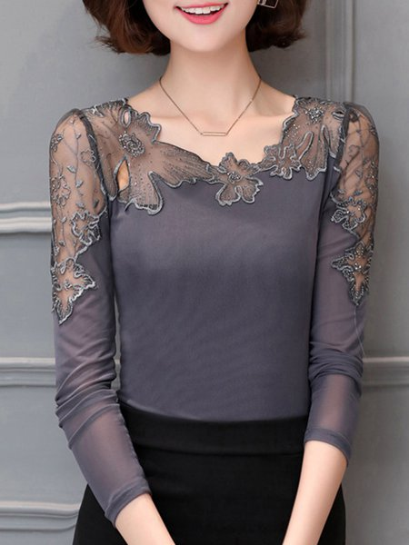 Casual Long Sleeve Crew Neck Paneled Lace Blouse