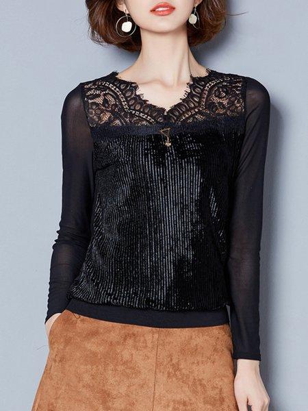 Paneled Long Sleeve V Neck Shirts & Blouse