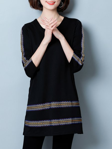 Casual Cotton-blend Solid Long Sleeve Crew Neck Tunic Top