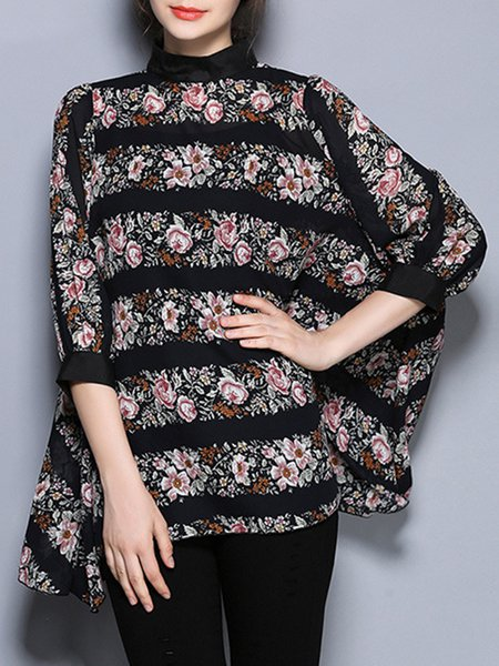 Chiffon Floral-print Crew Neck Long Sleeve Casual Tunic Top