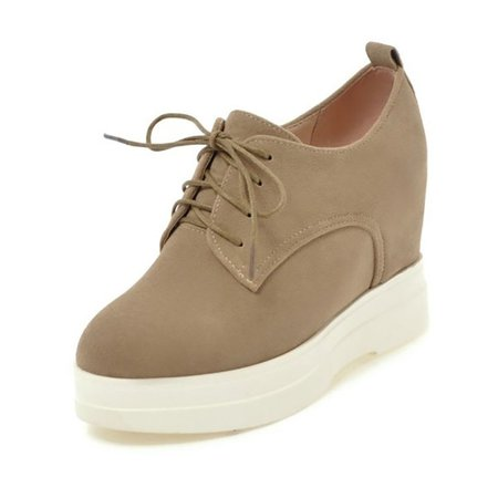 Casual Suede Lace-up Wedge Heel Shoes