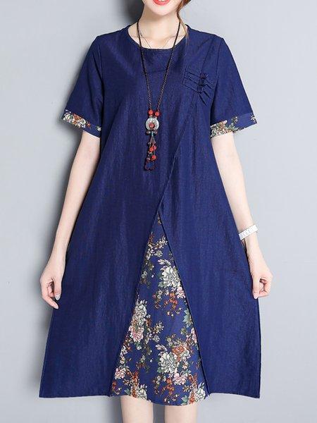 Deep Blue Crew Neck Casual Floral-print Floral Dress