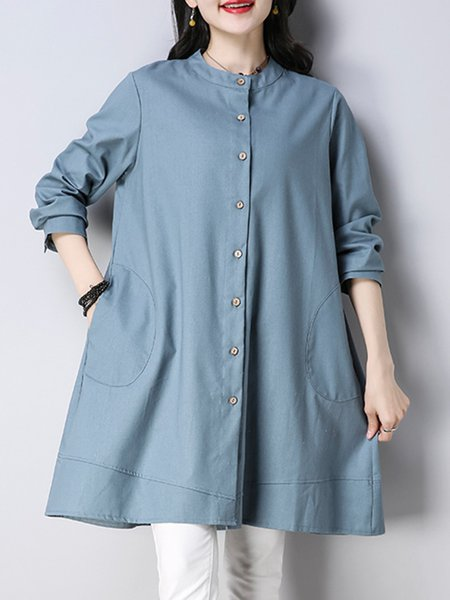 Buttoned Casual A-line Dress