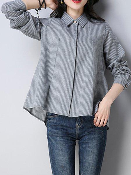 Stand Collar A-line Long Sleeve Shirt