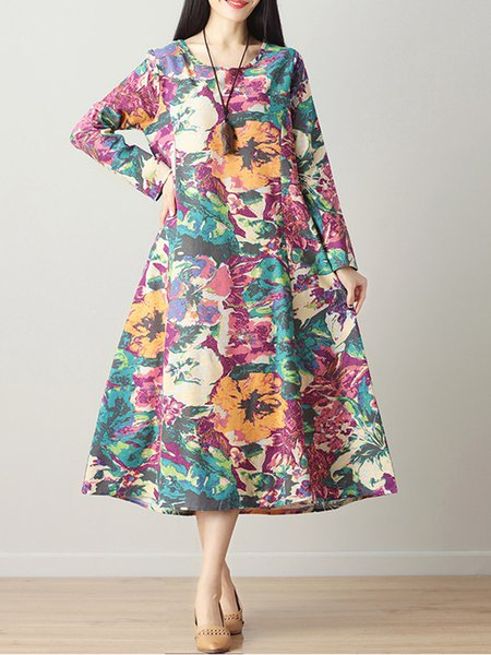 Crew Neck Casual Floral Floral-print Long Sleeve Dress