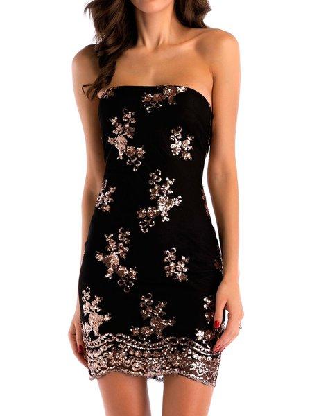Sheath Cotton-blend Sleeveless Off Shoulder Dress