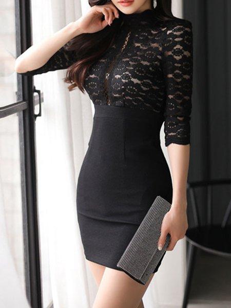 Paneled Elegant Turtleneck Long Sleeve Dress