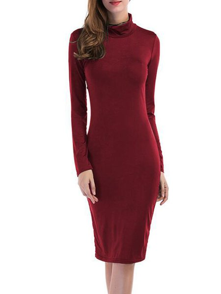 Solid Knitted Cutout Elegant Dress