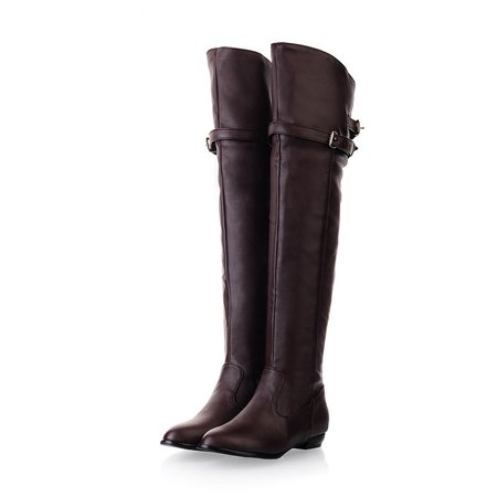 Casual PU Zipper Buckle Knee-high Low Heel Boots