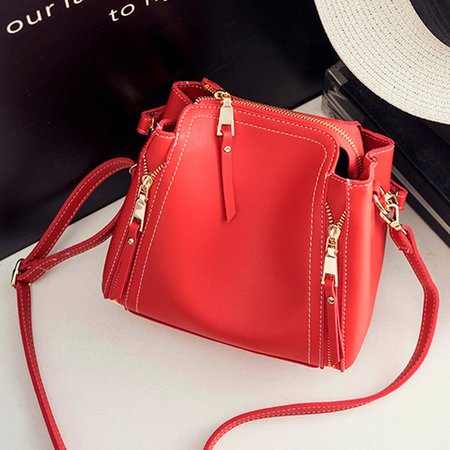 Women Elegant Cube PU Leather Multi Pockets Crossbody Bag