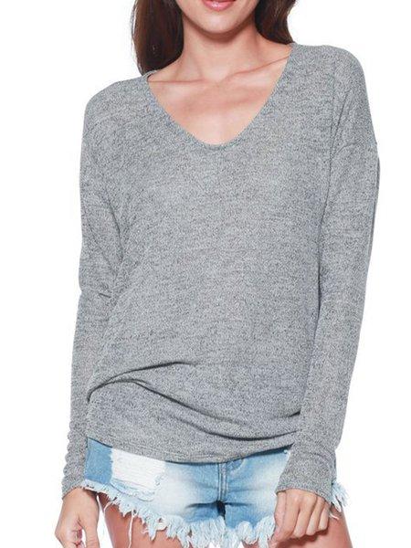 Burgundy Casual Cotton-blend V Neck T-Shirt
