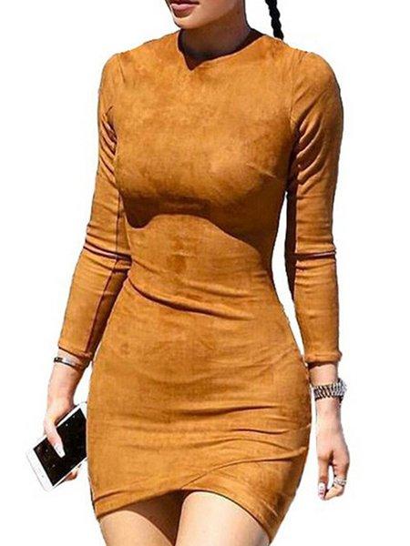 Casual Sheath Suede Long Sleeve Dress