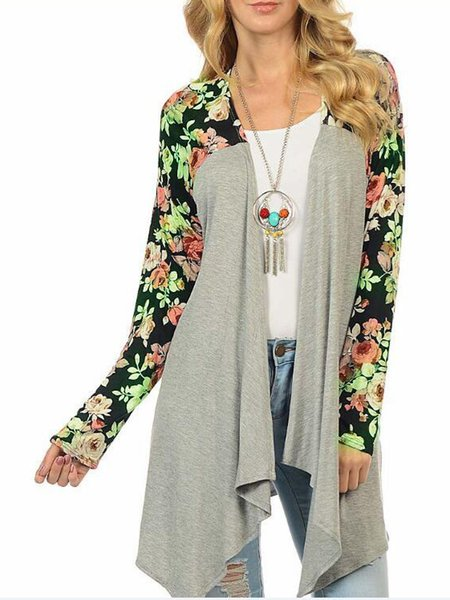 Floral Casual Paneled Coat
