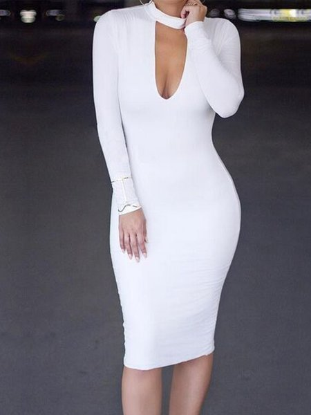 Long Sleeve Cotton-blend Sexy Solid Dress