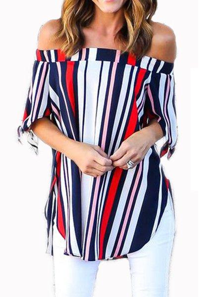 Stripes Casual Long Sleeve Blouse