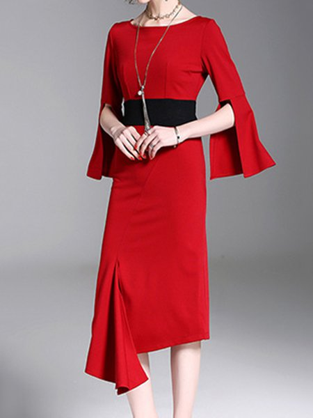 Red Crew Neck Long Sleeve Solid Asymmetric Dress