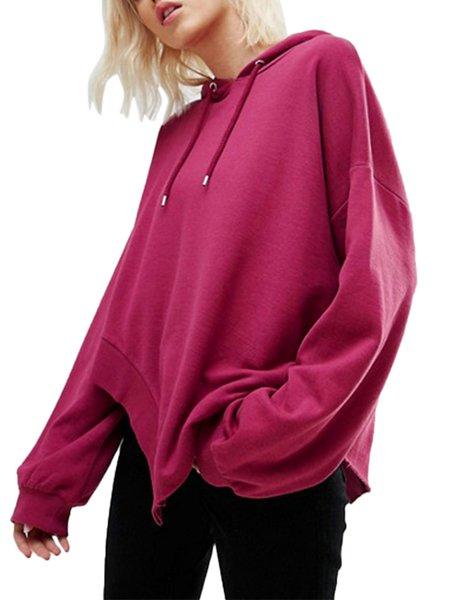 Fuchsia Cotton-blend Slit Casual HoodIE