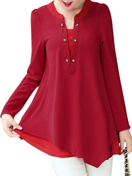 Cotton-blend Solid Buttoned Long Sleeve Casual Tunic Top