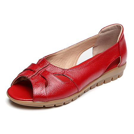 Casual Genuine Leather Hollow-out Flats