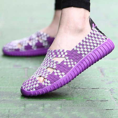 Hollow-out Knitted Fabric Casual Flat Heel Loafers