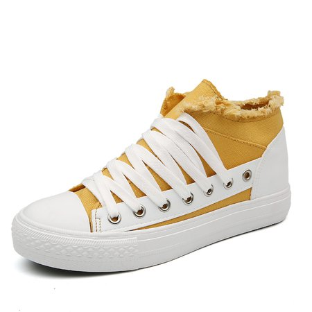 Color Block Canvas Flat Heel Lace-up Sneakers