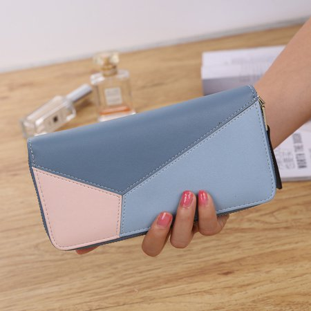 Color-block Phone Purse Casual Card Holder Wallet